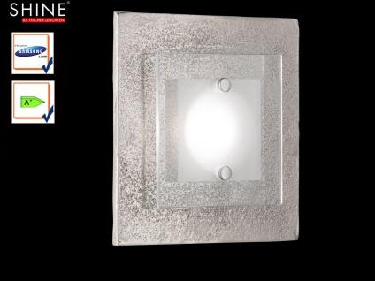 Fischer LED Wandleuchte SHINE-ALU Antik, Glas teilsatiniert, Wandlampe Design