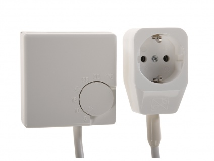 Stecker-Thermostat für Heizpaneele, inkl. Schalter und Anschlusskabel
