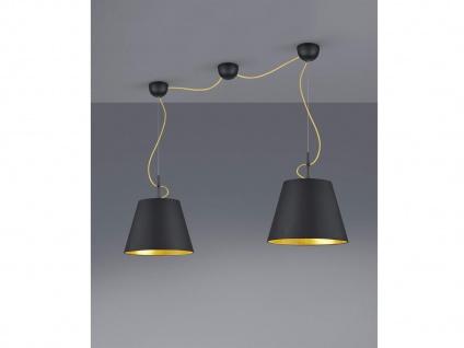Edle LED Pendelleuchte 2fl mit Stoff Lampenschirm in schwarz/gold, Esstischlampe