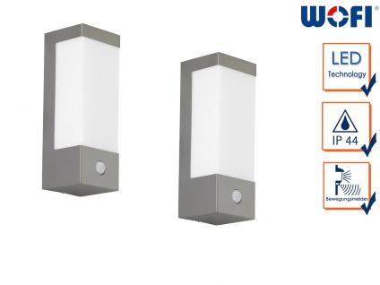2 Edelstahl LED Außenwandleuchten mit Bewegungsmelder 7 Watt Beleuchtung Fassade