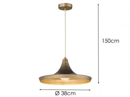 Vintage Pendelleuchte mit Metall Schirm Braun Ø 38cm E27 - Design Esstischlampen - Vorschau 5