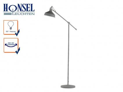 Honsel Retro Stehleuchte grau, Stehlampe verstellbar, Wohnzimmerlampe Standlampe