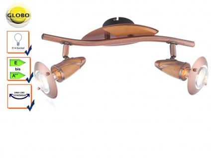 Design Deckenleuchte Deckenstrahler LORD Kupfer Holz Deckenbeleuchtung Globo