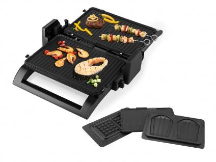 Kontaktgrill, Waffeleisen & Sandwichmaker 4in1 auswechselbare Platten, 31x21cm