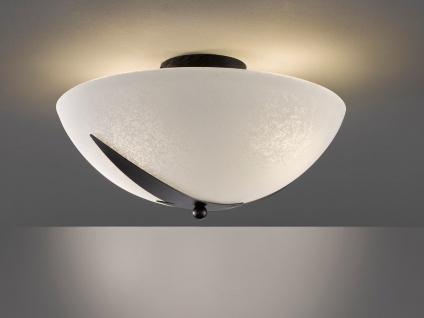 Moderne Landhaus Deckenleuchte Ø 40cm mit LED dimmbar & Lampenschirm Glas Weiß