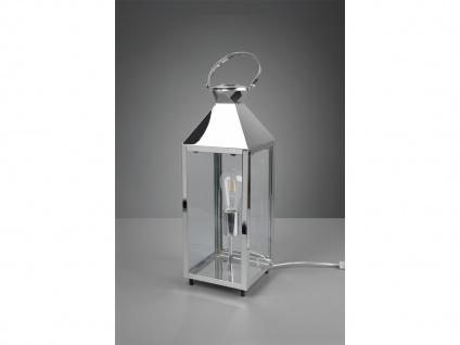 LED Tischleuchte groß Laterne Chrom Metall 19x19cm 61cm hoch für die Fensterbank - Vorschau 4