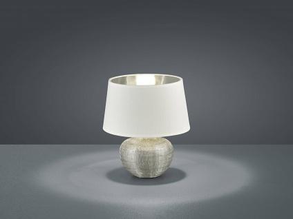 Keramik Tischleuchte 35cm hoch mit Stofflampenschirm Ø24cm in Weiß/Silber E27