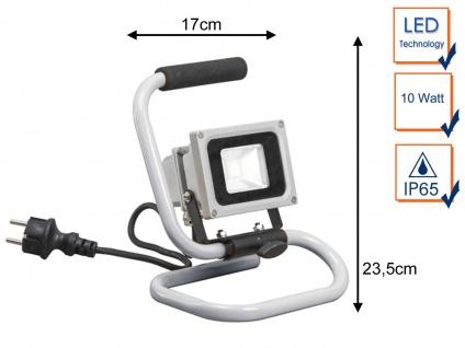 Tragbarer 10 Watt LED Baustrahler mit Kabel, IP65 Arbeitsleuchte Baustellenlampe