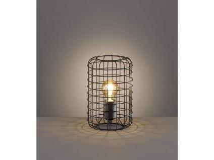 Vintage Tischleuchte 25cm mit Filament LED, Gitterlampe schwarz im Industrielook - Vorschau 5