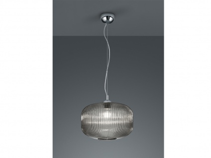 1 flammige Designer Pendelleuchte Lampenschirm Kugelform Ø35cm aus Rauchglas
