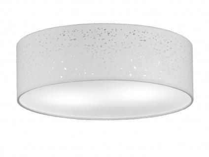 LED Deckenleuchte Ø 40cm Stoffschirm weiß Dekor, Deckenlampe Wohnzimmer Flur