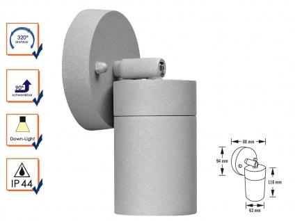Aluminium Wandspot MODENA grau schwenkbar GU10 H. 10, 5 cm IP44 Außenleuchte
