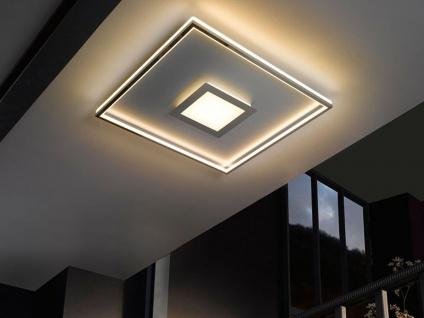Flache LED Deckenleuchte Quadrat Silber matt & Chrom 80cm groß mit Fernbedienung