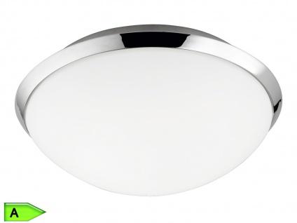 Runde Badleuchte, ink. 12W SMD-LED, Ø25cm, IP44, Chrom, Glas weiß