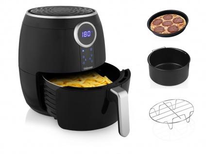 Heißluftfritteuse & 3tlg Zubehörset - Friteuse ohne Öl 4, 5Ltr. Fritöse 1500 Watt