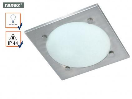Ranex Bad Deckenlampe VADO Edelstahl Glas, Badezimmerlampe Badleuchte Decke