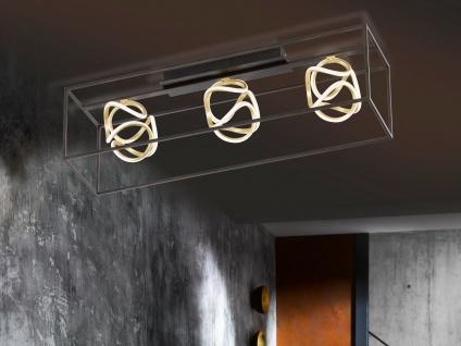 Ausgefallene 3 flammige LED Designer Deckenleuchte dimmbar - Balken Schwarz Gold