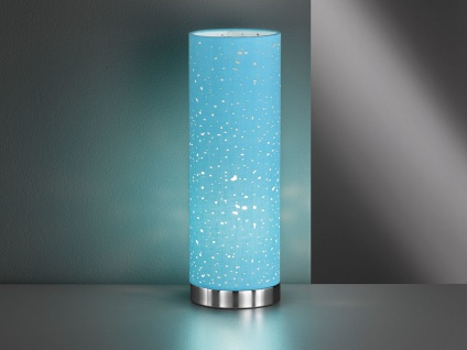 Kleine Tischlampe E14 chrom mit Lampenschirm Stoff blau, Nachttischlampe Design