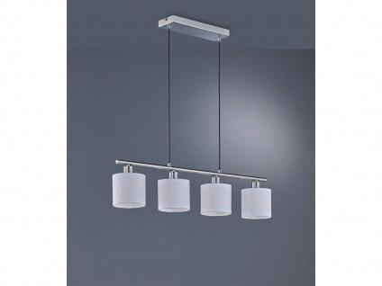 LED Pendelleuchte 4 flammig mit Stoff Lampenschirmen in Weiß für Esszimmertisch