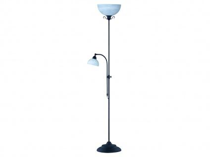 Dimmbarer LED Deckenfluter mit Lesearm Metall Rost Glas Alabaster 180cm hoch