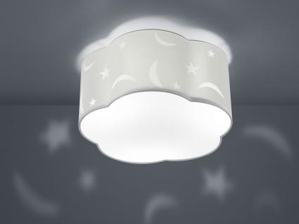 Große runde LED Deckenleuchte Ø40cm, weißer Stoffschirm mit Mond+Sternen Motiv