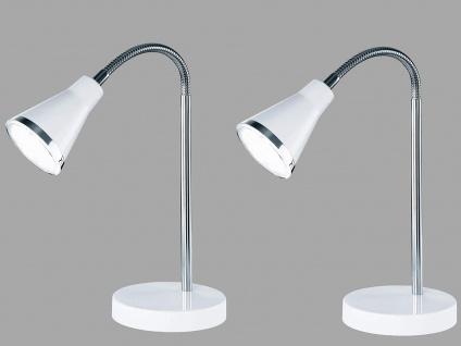 2er SET schöne LED Tischleuchte mit Schirm in Weiß Schreibtischlampe mit Flexarm