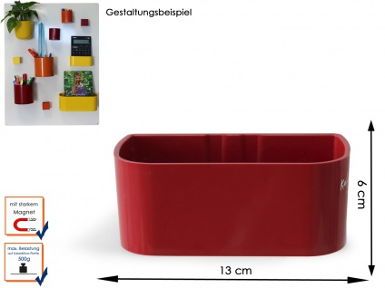 Kunststofftopf mit Magnet B. 12 cm, Rot, Wandaufbewahrung Wanddeko, KalaMitica