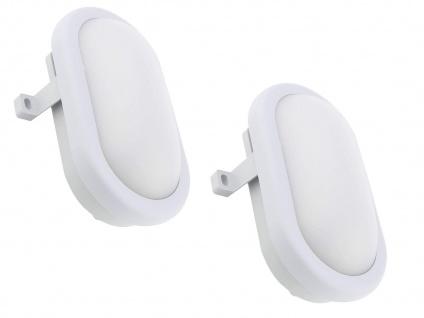 2er Set LED Außenwandleuchten oval grau mit Bewegungsmelder, Kellerlampen