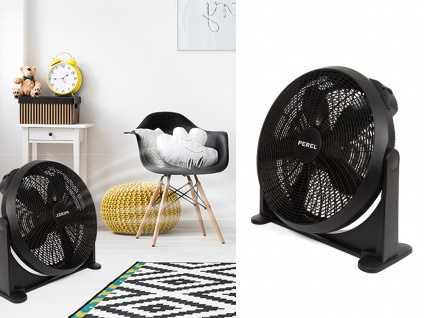 Wandventilator Bodenventilator schwarz Ø50cm - 2 Lüfter fürs Schlafzimmer Büro