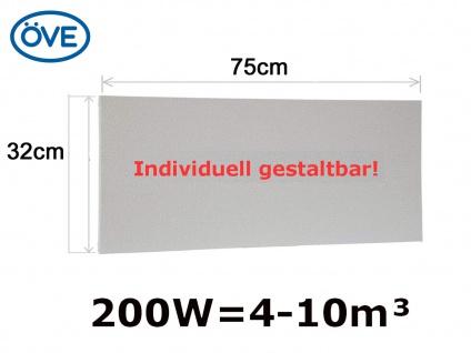 100W Infrarotheizung, 75x32cm, für Räume 4-10m³, bemalbar, IP44