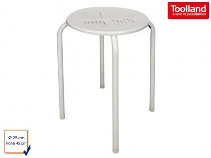 Hocker mit Gestell und Sitzfläche aus Stahl in weiß, Sitzhocker Camping Küche