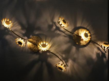 Dreiflammige florentiner Blumen Motiv LED Deckenleuchte aus Metall in Blattgold - Vorschau 4