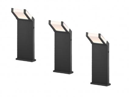 Moderne Clean Cut Pfostenleuchten im 3er SET LED Wegelampen mit Dämmerungssensor