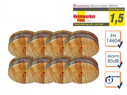 8er-SET Rauchwarnmelder in Holzoptik - Feuermelder Brandmelder Feuer Brand Alarm