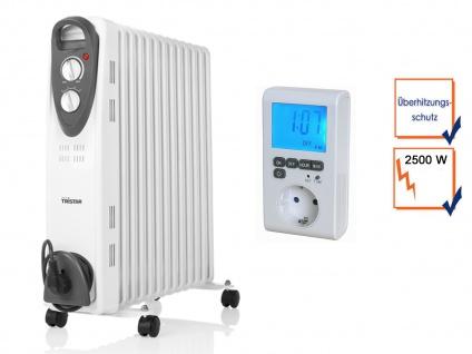 Mobile 2500W Elektroheizung, Thermostat & Zeitschaltuhr, Raumheizgerät mit Timer