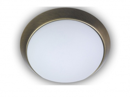 Deckenleuchte rund Opalglas Dekorring Altmessing Ø 25cm Büroleuchte Küchenlampe