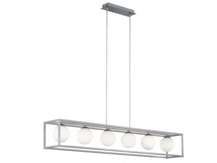 DESIGN LED Pendelleuchte Nickel matt 6 Kugel Glasschirmen Opalweiß Esstischlampe