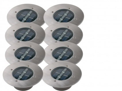 8er Set Solar Einbaustrahler Außen rund mit Tag/Nacht Sensor Bodeneinbauleuchten