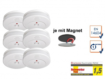6er SET Rauchmelder TÜV zertifiziert & EASY Magnetmontage, Brand Feuer Melder