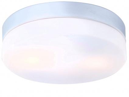 LED Badezimmmer Deckenleuchte Alu silber mit Abdeckung opalweiß, Ø 24cm