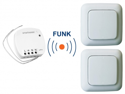 Funk Schalter Set = Mini Funk-Einbauschalter + 2 Funk-Wandschalter Fernbedienung