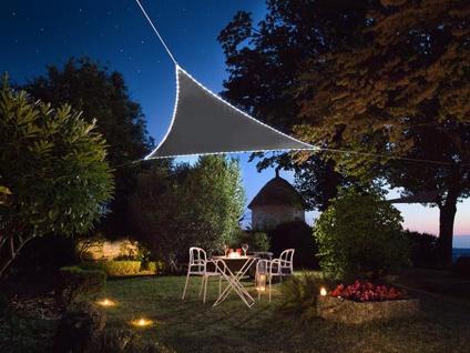 Sonnensegel mit 107 LEDs Dreieck Grau 5, 6² - Terrassensegel für Balkon & Garten
