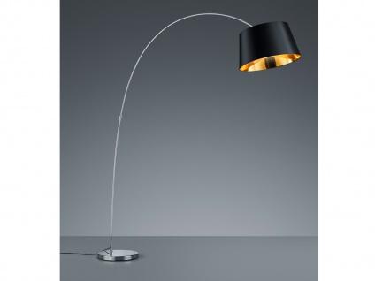 LED Stehlampe H120cm mit Lampenschirm Ø50cm aus Stoff in schwarz/gold Bogenlampe