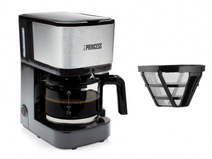 Kaffeemaschine Edelstahl als Set mit Glaskanne für 8 Tassen & 2x Permanentfilter