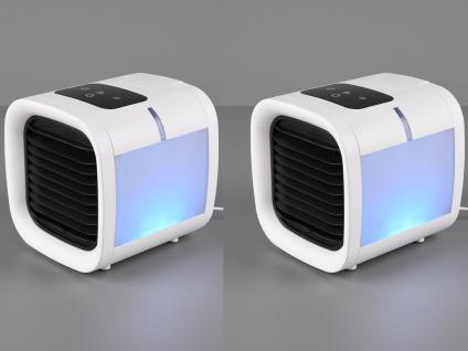 USB Tischventilator 2er SET Wassertank Raumbefeuchtung Farbwechsel Touch Display