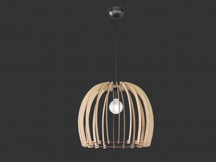 LED Naturholz Hängeleuchte LED 1 flammig Schirm holzfarbig rund Ø 50cm Höhe 41cm