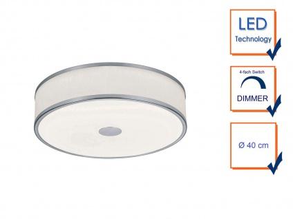 LED Deckenleuchte Ø40cm mit weißem Stoffschirm, Nickel matt mit SWITCH DIMMER - Vorschau 3