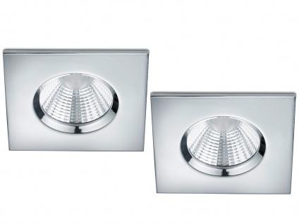 LED Einbaustrahler Decke 2er Set eckig dimmbar Chrom glänzend 5, 5W Deckenleuchte