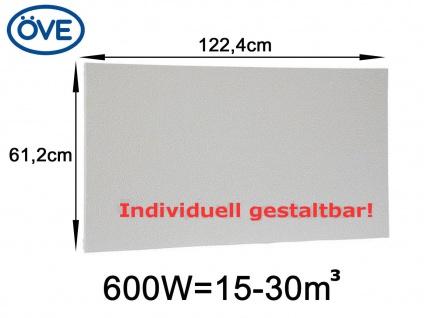 600W Infrarotheizung, 122, 4x61, 2 cm, für Räume 15-30m³, bemalbar