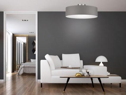Deckenleuchte mit Stoff Lampenschirm Grau 40cm - Textil Deckenlampe Stoffschirm - Vorschau 3